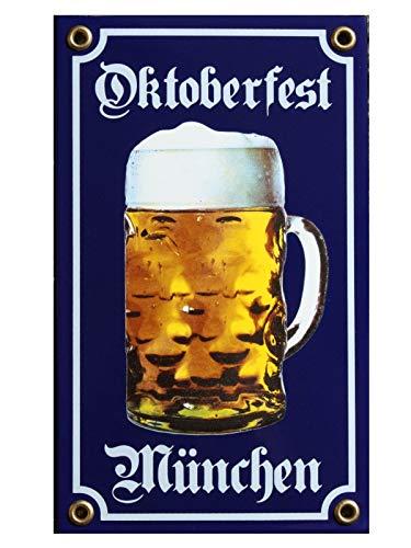 Oktoberfest München Bier Krug Emaille Schild 12 x 20 cm blau Emailschild.