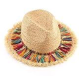 JICIMAOYI Sombra de verano para hombre y mujer, sombrero de paja con flecos, sombrero de playa de borde grande para niño