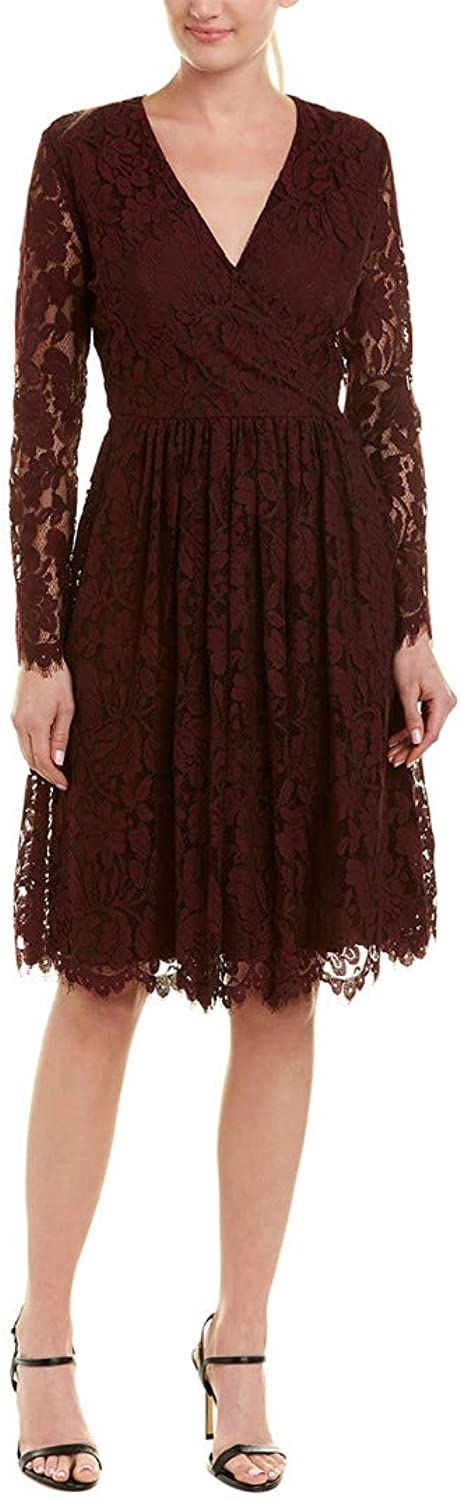 Alexia Admor Womens Long Sleeve VNeck Fit & Flare Dress