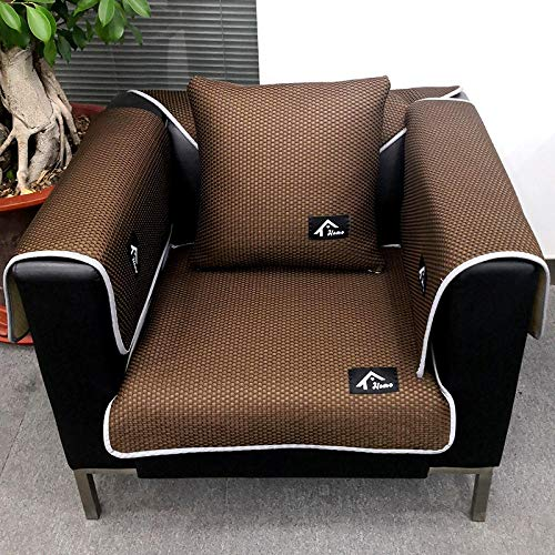 YUTJK Impermeable Funda De Sofa,Funda de sofá Transpirable para sofá de Cuero,Fundas de sillón,Protector de sofá Antideslizante actualizado,cojín de sofá para Mascotas de Verano-Coffee_60 * 60cm