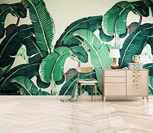 Muurschildering achtergrond eigen 3D fotobehang Zuidoost-Azië Tropisch regenbos banaanblad foto achtergrond wandbehang 250 x 175 cm.