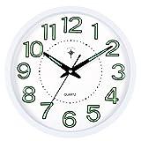S.W.H Reloj de Pared con luz Nocturna, Relojes silenciosos de Cuarzo Moderno clásico Simple para Sala de Estar/hogar/Cocina, números Grandes en 3D, fácil de Leer, 12 Pulgadas, Blanco