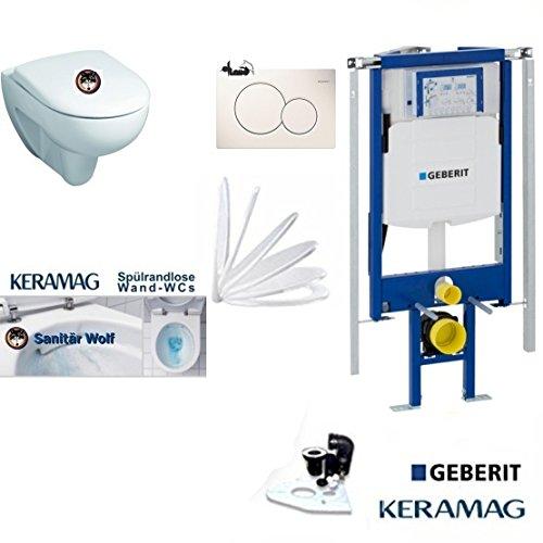 Geberit Duofix UP 320 ECK Vorwandelement mit Sigma01 WEISS, KeramagRenova Nr.1 Spülrandlos, Tiefspül-WC, inkl. Sitz,Keratect Beschichtung