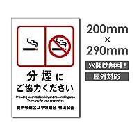 メール便対応 禁煙 喫煙禁止 敷地内全面禁煙 店内禁煙喫煙OK 院内禁煙 完全分煙 プレート「 分煙にご協力ください 」喫煙OK 看板 w20cm*h29cm NON-111