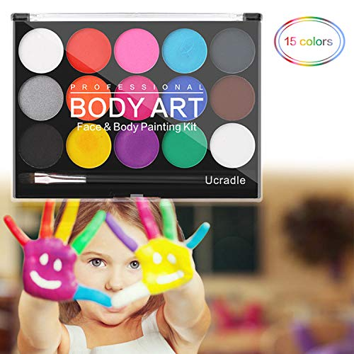 Kinderschminke Set - Ucradle 15 Farben Schminkset für Kinder, Waschbare Sichere und Professionelle Facepainting Palette, Perfekt für Kinder Parties Halloween Karneval Make-up Bodypainting