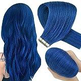Hetto Nastro in Capelli Umani Estensioni 22 Pollici Dritto Estensione dei Capelli Blu Colorato Brazilian Real Hair Adhesive 10Pcs 25g Human Hair Remy Skin Weft Natural
