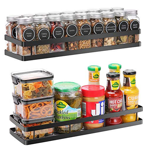 Scnvo Spice Rack Organizer Wall Mounted 2 Pack PunchFree Floating Shelves Storage for Pantry Cabinet Door Sturdy Hanging Organizer for Kitchen Bathroom Black