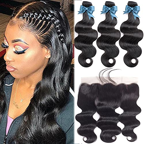 Brazilian Body Wave 3 Bundles with Frontal 20 20 22+18 Inch Hair Bundles with 134 Lace Frontal Closure Virgin Hair Bundle Deals 10A Unprocessed Remy Human Hair Weaves Extensions
