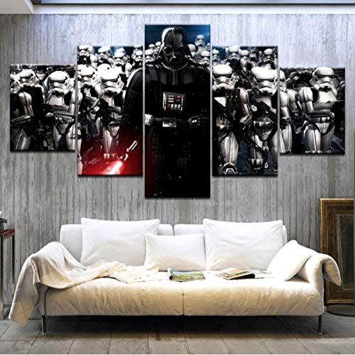 ZKPGUA Prints on Canvas Home Decor Star War Darth Vader Helmet Movie Poster 5 Panels Wall Art Picture (Size B) No Frame