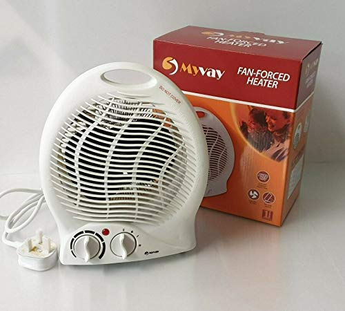 myvay Electric Heater Fan Heater Hot & Cold Settings Thermostat 2 Heat Setting Overheat Protected Standing Plug-In Radiator Air Warmer & Cooler Ideal For Home, Office - White