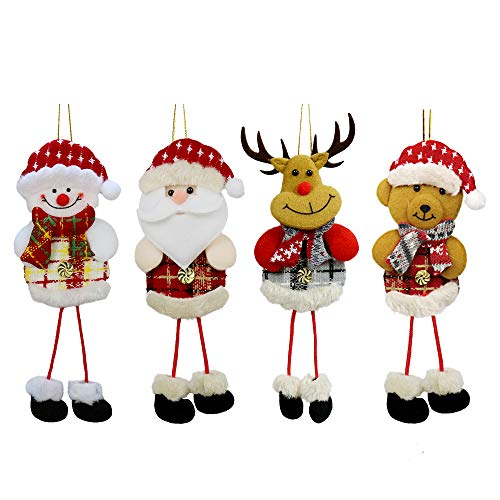 YOSICHY 12 PCS Plush Christmas Tree Ornaments Xmas Decorative Hanging Ornaments Santa Reindeer Snowman Bear for Holiday Party Decor Kids Gifts