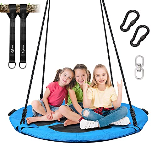 Trekassy 700lb Saucer Tree Swing for Kids Adults 40 Inch Textilene Wear- Resistant Waterproof Frame Includes Swivel, 2 Tree Hanging Straps