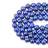 LPBeads 100PCS 8mm Blue Lapis Gemstone Round Loose Beads for Jewelry Making with Crystal Stretch Cord