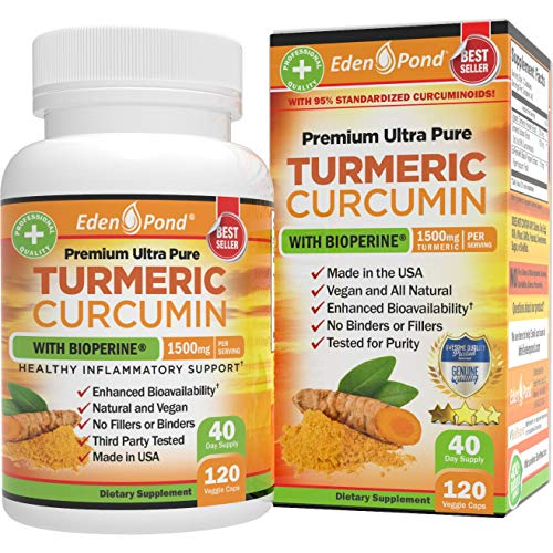 Turmeric Curcumin with BioPerine 1500mg. Joint & Healthy Inflammatory Support with 95% Standardized Curcuminoids and Black Pepper