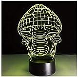 Luz nocturna para niños Lámpara 3D Ilusión Luz Nocturna LED con Cable USB y 7 funciones de cambio de color regalo de Navidad jóvenes, adultos, niñas seta-Touch+Remote