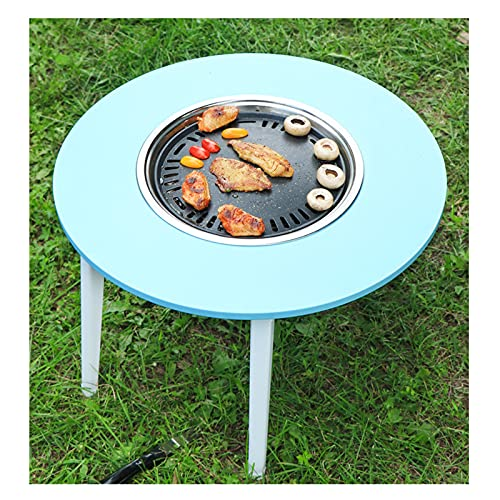 Barbacoas de Carbón Parrilla de carbón de leña portátil con mesa redonda azul de la parrilla plegable de la tabla y la sartén antiadherente para 3-5 personas en el interior o las reuniones de nuestros