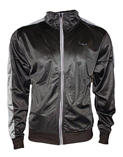 ROCK-IT Apparel Veste de survêtement pour Hommes, Track Jacket, Veste de qualité pour Hommes de Style rétro, Tailles S-3XL- Noir Gris M