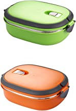 Baoblaze Pack 2 Stainless Steel Thermal Insulated Bento Boxes Lunch Box Picnic Food Container Green Orange