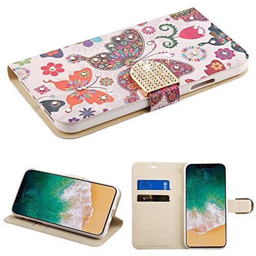 Fall + temperedglass Passt Apple iPhone X/10Butterfly Flower Wonderland mit/Diamant MYBAT MyJacket mit mit Gürtel Wallet