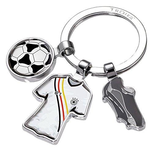 TROIKA FREE KICK SCHLÜSSELHALTER FUSSBALL - #KYR18-A107 - Motiv: 'FREE KICK' - Fußball, Trikot, Ball - Schlüsselring mit Charms - das Original von TROIKA