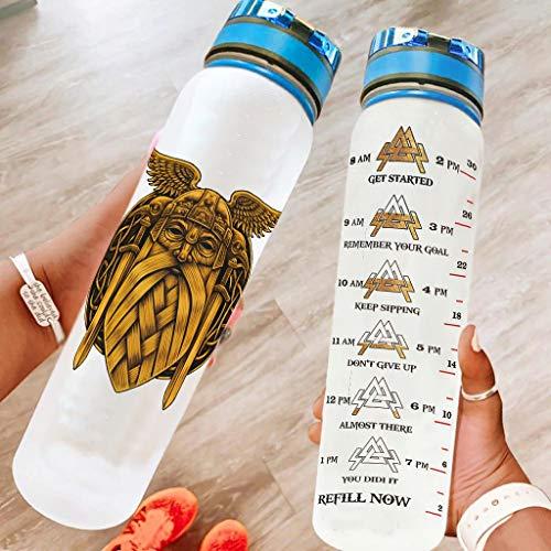 Haythan Divertida botella de agua deportiva Odin Viking a prueba de fugas, botella reutilizable perfecta para camping, viajes, color blanco, 1000 ml