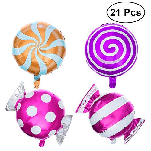TOYMYTOY 21pcs Lollipop fijados globos dulces de la hoja del caramelo para la decoración del banquete de boda del cumpleaños