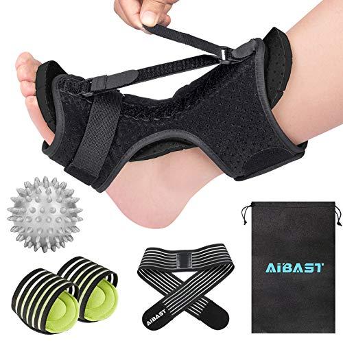2021 New Upgraded Black Night Splint for Plantar Fascitis, AiBast Adjustable Ankle Brace Foot Drop Orthotic Brace for Plantar Fasciitis, Arch Foot Pain, Achilles Tendonitis Support for Women,Men