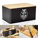 bambuswald© contenitore pane in metallo con coperchio in bambù ecologico - ca 33x21x16cm | contenitore pane per croissant, pane o panini | contenitore pane con asse da cucina