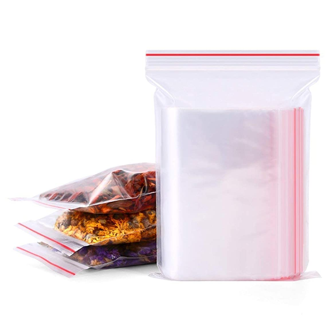 100 PCS 4x6 Inch Clear Reusable Plastic Seal Bags Cello Cellophane Packages Red Small Zip Lock Block Storage Small Items Snacks Samples Jewelry Beads Gift Wrapping Bags