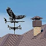Banderuola segnavento Eagle con montaggio sul tetto, strumenti di misurazione Indicatore di direzione del vento Ornamento Decorazioni in metallo per giardino pensile per decorazioni da cortile