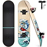 Skateboard Completo, Funxim Tabla de Skateboard 31 x 8 Pulgadas 4 Ruedas 7 Capas Madera de Arce Doble Patada Rueda Completa para Monopatín Skateboard para Principiantes Adulto Jóvenes Niños (Tiburón)
