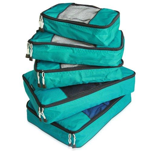 TravelWise Packing Cube System – langlebiges 5-teiliges Wochenender+ Gepäck-Organizer-Set, blaugrün (Blau) - 6777752