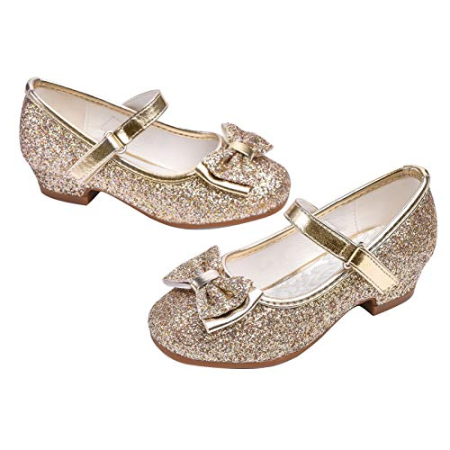 STELLE Girls Mary Jane Glitter Shoes Low Heel Princess Flower Wedding Party Dress Pump Shoes for Kids Toddler(ST08-Gold, 9MT)