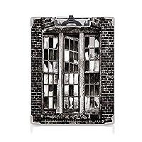 クリップボード 用箋挟 クロス貼 A4 短辺とじ 工業用 フォルダーボードフォルダーライティングボード (2個)壊れたガラス窓ガラス行方不明遺失植物工場レンガ壁装飾チャコールグレーペールグレー