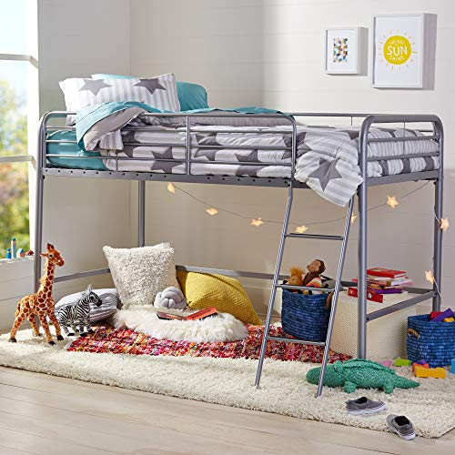 Amazon Basics Metal Twin Loft Bed, Easy Assembly, Silver