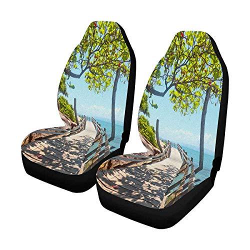 Little Yi Holzbrücke entlang der Seeküste Autositzbezug Vordersitze Fahrzeugsitzschutz Automattenbezüge