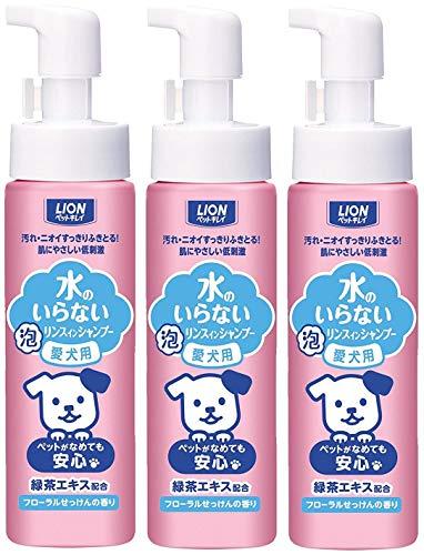 ペットキレイ 水のいらない リンスインシャンプー 泡 フローラルせっけんの香り 愛犬用 200ml×3本 (まとめ...
