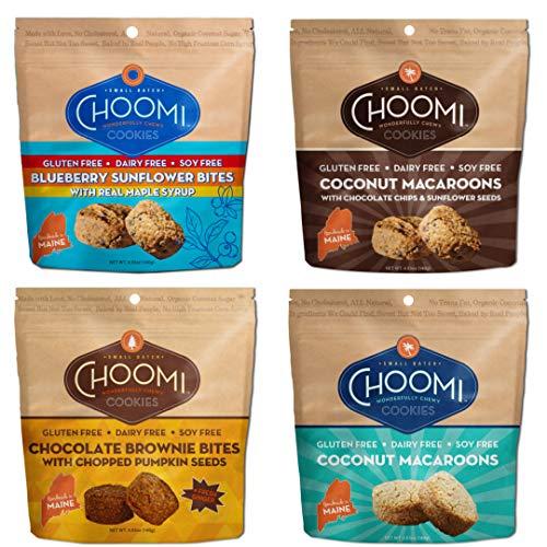 Choomi Cookies 4 Pack w/ Blueberry Sunflower & Chocolate Brownie Bites, Chocolate Chip Sunflower & Coconut Macaroons