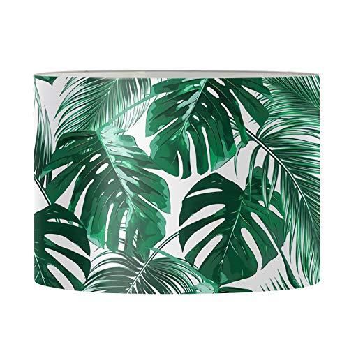 Renewold Abat-jour imprimé feuille de palmier tropical - Abat-jour pour lampe de table - Lampe de chevet pour chambre à coucher, salon, maison de ferme - 29 x 17 cm - Araignée durable