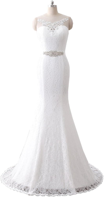 HUICHENGYAO Women's O Neck Sleeveless Lace Wedding Dress Evening Mermaid Gown