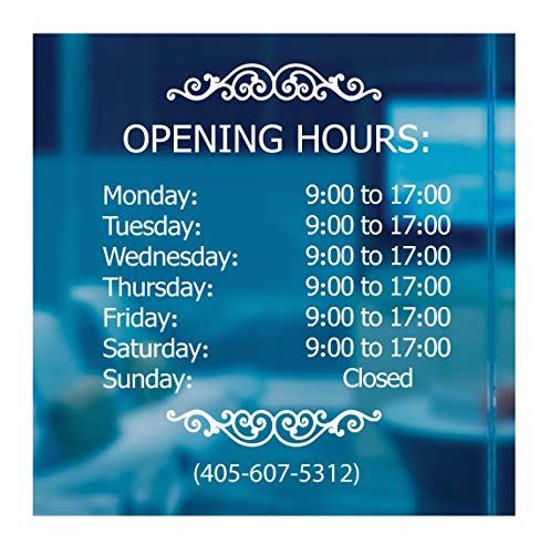 LokaUS Professional Business Hours Sign Kit, 20x20 Inches Changeable Signs for Business, Customize Window Sign for Business, Outside Retail Hours of Operation Sign, Store Hours Sign (Vinyl Decal)