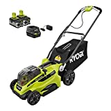 Ryobi 16 in. ONE+ 18-Volt Lithium-Ion Cordless Battery Walk Behind Push Lawn Mower Two 4.0Ah Batteries/Charger Include