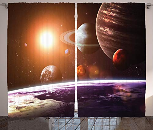 Ambesonne Galaxy Curtains, Space Theme View of The Planets from Earth Science Room Art with Sun and Moon, Living Room Bedroom Window Drapes 2 Panel Set, 108' X 84', Magenta Orange