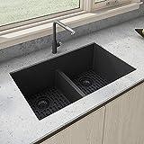 Ruvati Black Kitchen Sink Granite Composite Undermount Double Bowl 33 x 19 inch Low Divide -...
