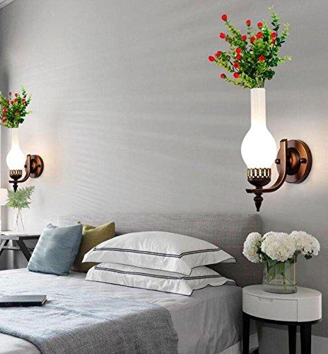 OOFWY E27 Vase Pflanze Wandleuchte Moderne minimalistische Stil für Schlafzimmer Wohnzimmer Nachttisch Dekoration Hardware Eisen Kunststoff Blumen Glashalter Licht, Single head