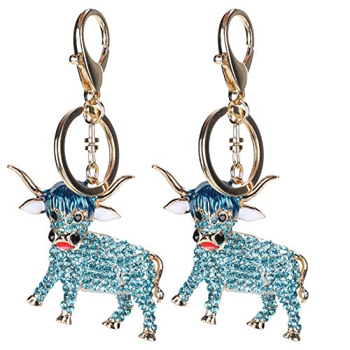 2Pcs Cow Keychain 3D Sparkling Charm Pendant Rhinestones Ox Key Ring Bling Crystal Jewelry Purse Bag Ornament Key Chain Gift(Blue)