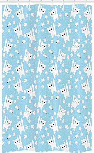 ABAKUHAUS Baby Douchegordijn, Vermakelijke Kat met Garen, voor Douchecabine Stoffen Badkamer Decoratie Set met Ophangringen, 120 x 180 cm, Blue Cream