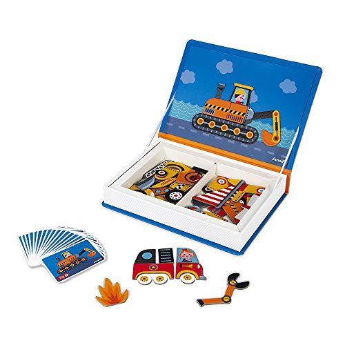 Janod - Magneti'Book Bolides - Jeu Educatif Magnétique 50 Pièces - Apprentissage Motricité Fine et Imagination - Dès 3 Ans, J02715