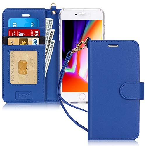 FYY Cover iPhone 8 Plus, Custodia iPhone 8 Plus, Cover iPhone 7 Plus, Flip Custodia Portafoglio Libro Pelle PU con Porta Carte e Chiusura Magnetica per iPhone 7 Plus/8 Plus-Blu