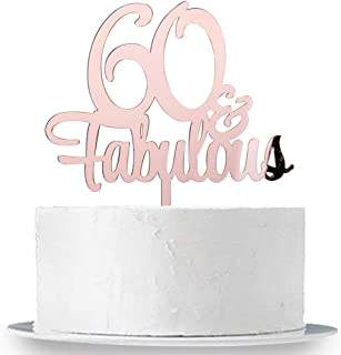 INNORU 60 & Fabulous Cake Topper, Mirror Rose Gold 60th Birthday Party Cake Decorations, Cheers to 60 Years